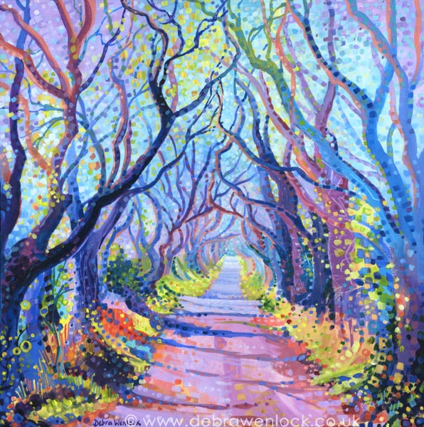 "Dark Hedges Painting in acrylic - ""Shadows and Tall Trees"" by Debra Wenlock"