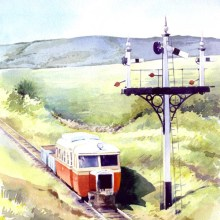 Arrival at Donegal Town, CDR Railcar, watercolour by Debra Wenlock