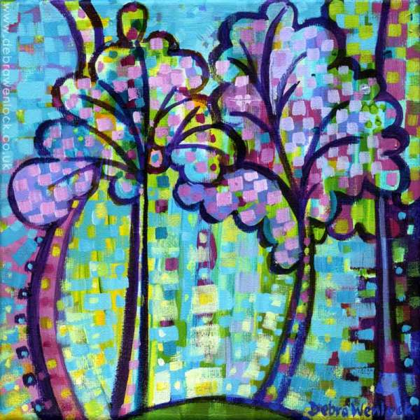 Funky Trees, acrylic painting by Debra Wenlock