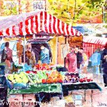 'Rugby Market' collage, wax & watercolour by Debra Wenlock