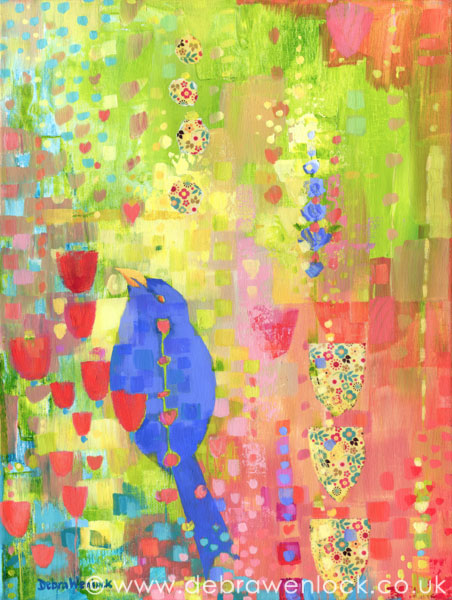 The Blackbird's Garden mixed media painting by Debra Wenlock