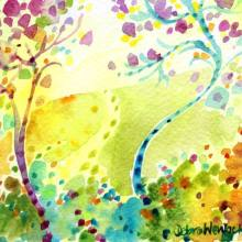 Whimsical Trees - Winding Road Watercolour, Debra Wenlock