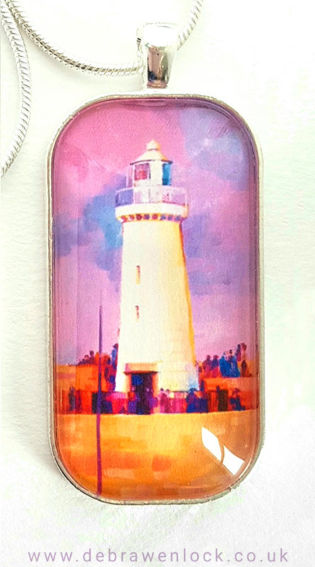 Lighthouse Art Pendant pink by Debra Wenlock
