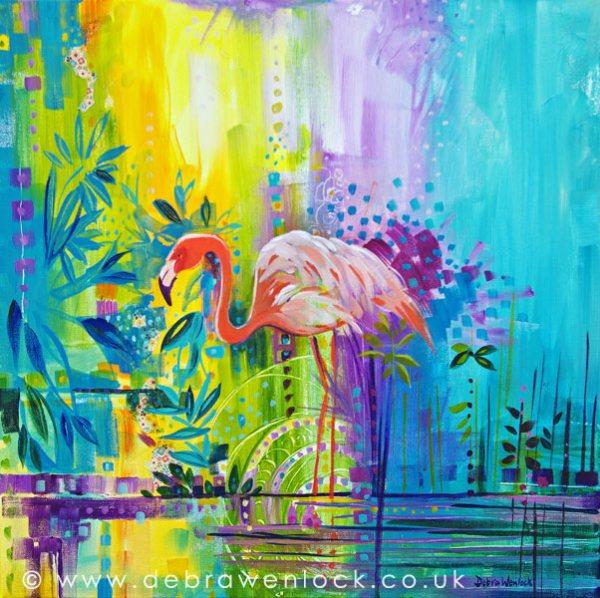 """Flamingo painting - """"Fabulously Unruffled"""" by Debra Wenlock"""