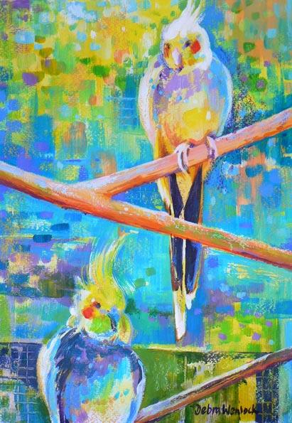 Cockatiels - acrylic painting by Debra Wenlock
