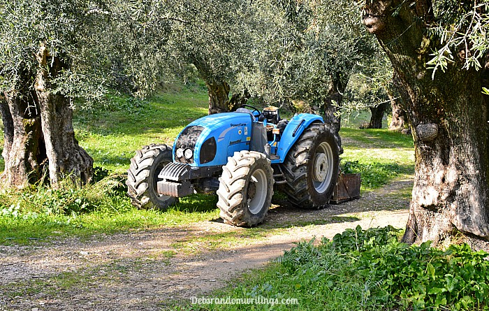 A blue tractor