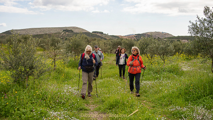 A group of hikers on a hike near Agalas on Zante.