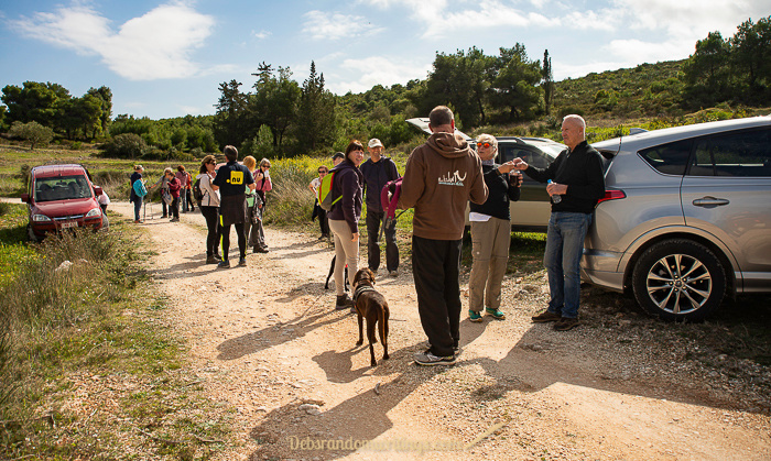 A group of hikers return to their cars after their 16km hike near Agalas, Zakynthos.