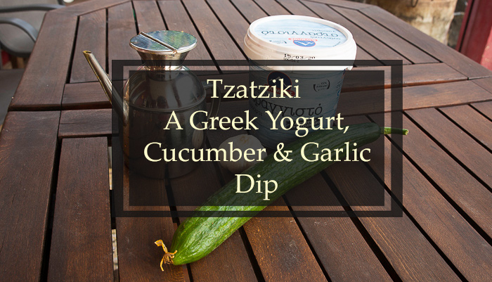 The title image for a tzatziki recipe