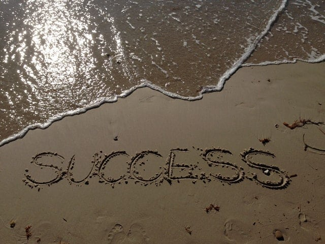 success written in sand