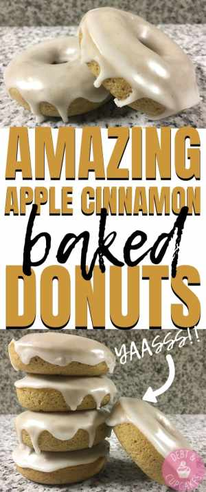 glazed apple cinnamon baked donuts on a marble counter