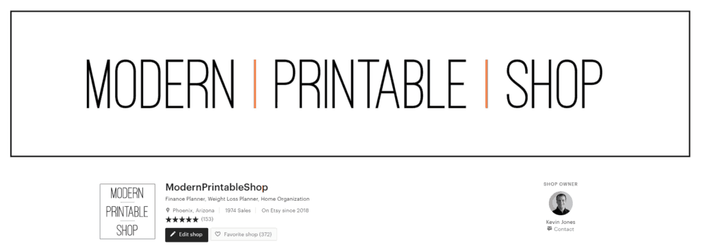 Modern Printable Shop