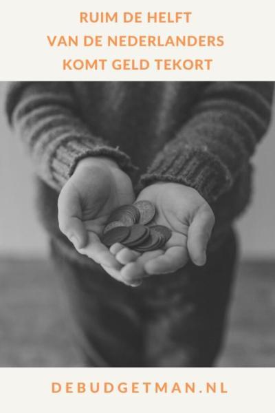 Ruim de helft van de Nederlanders komt geld tekort #geldbesparen #geld #schulden #sparen #DeBudgetman