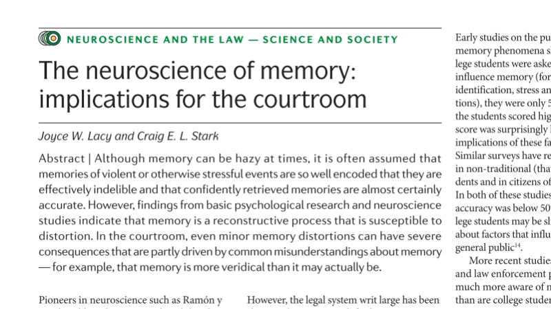 Neuroscience, Memory and the Courtroom