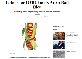 Scientific American on Mandatory Labeling of GM Foods