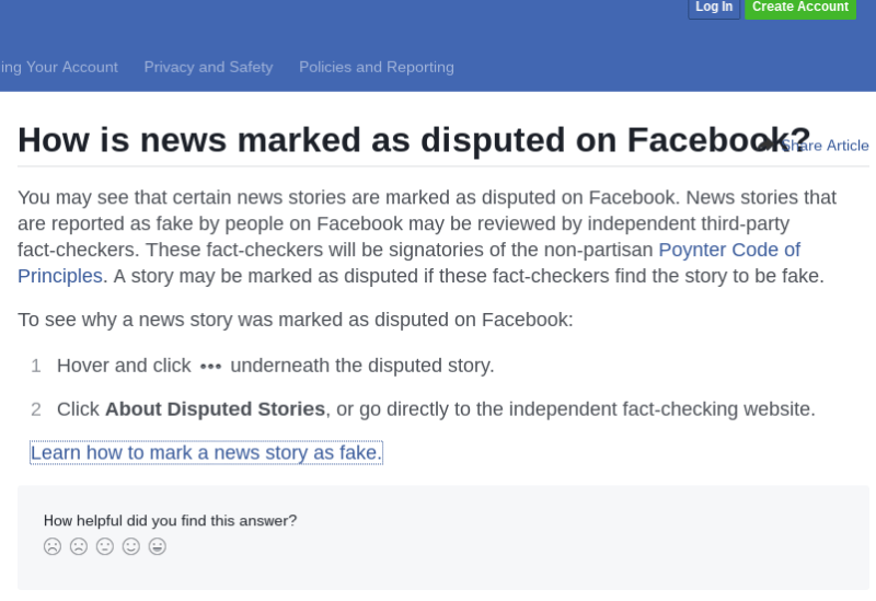 How is news marked as disputed?