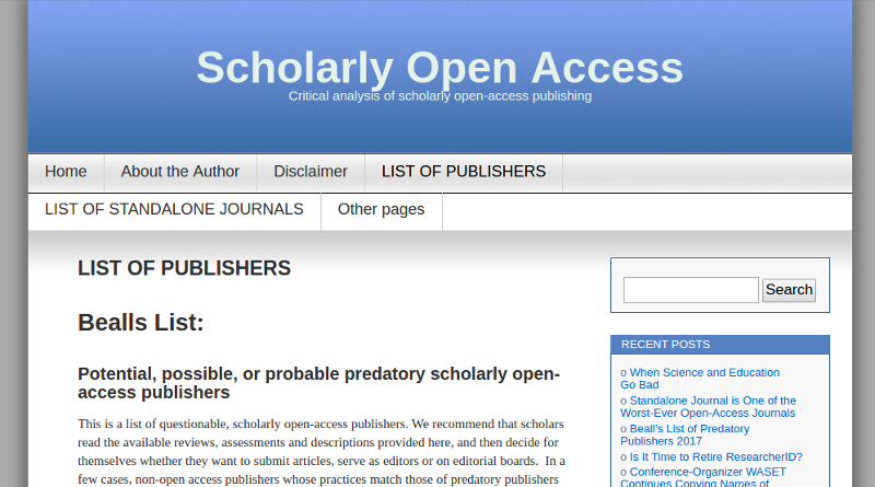 Beall list of allegedly predatory publishers
