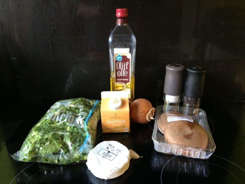 Ingrediënten Portobello met andijvie, quinoa en geitenkaas