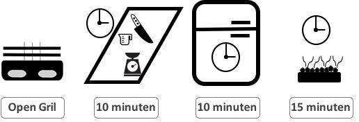 OpenGril-Voorbereiding 10minuten-marineren 10 minuten - grillen 15 minuten