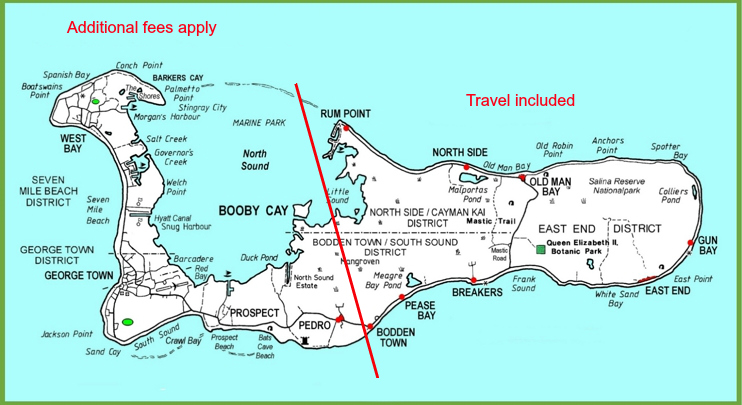 Cayman travel map