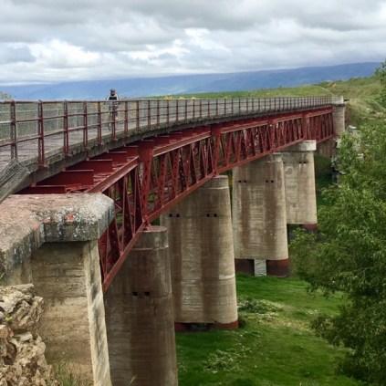 Long bridge on rail trail in New Zeaaland