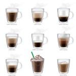 9 imagens de xícaras ilustrando vários tipos de bebidas, tais como capuccino, mocaccino, café americano, feito de acordo com cada ingrediente que leva.