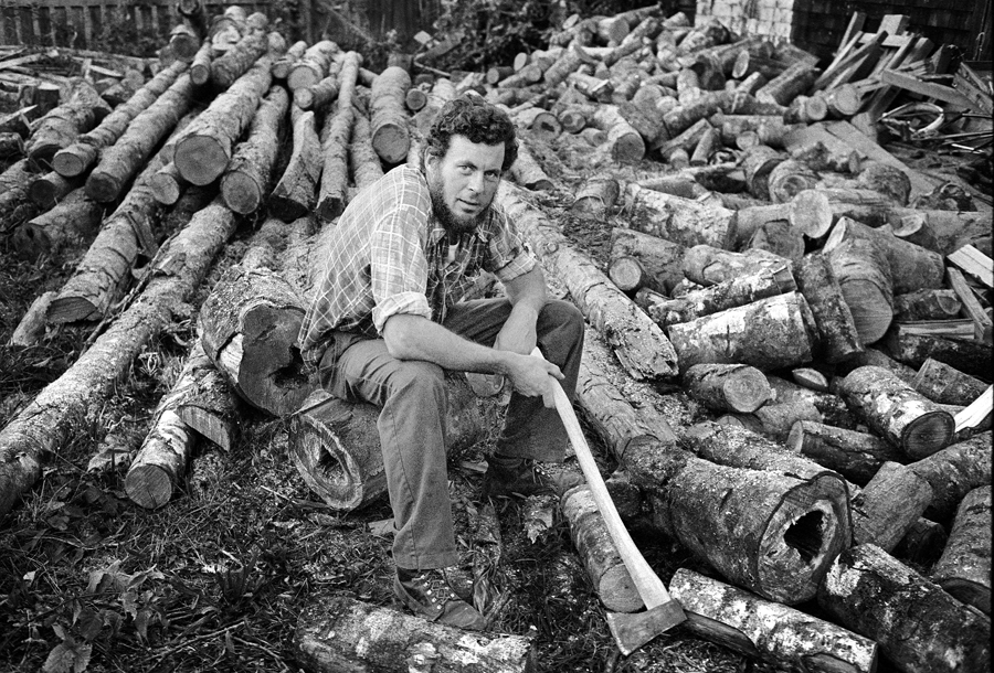 Dave Hardy, chopping a wood pile in Cumberland