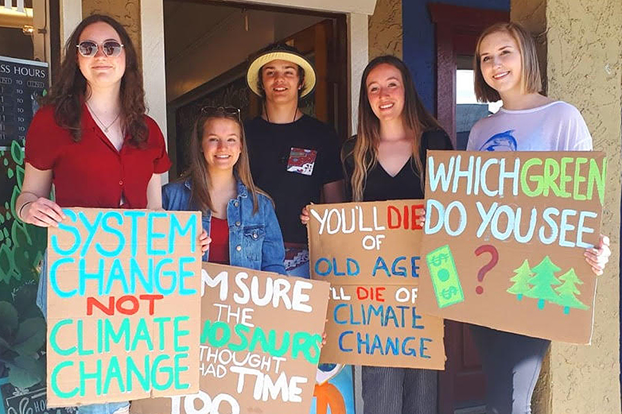 Orca and a dinosaur join Comox Valley youth in climate action march
