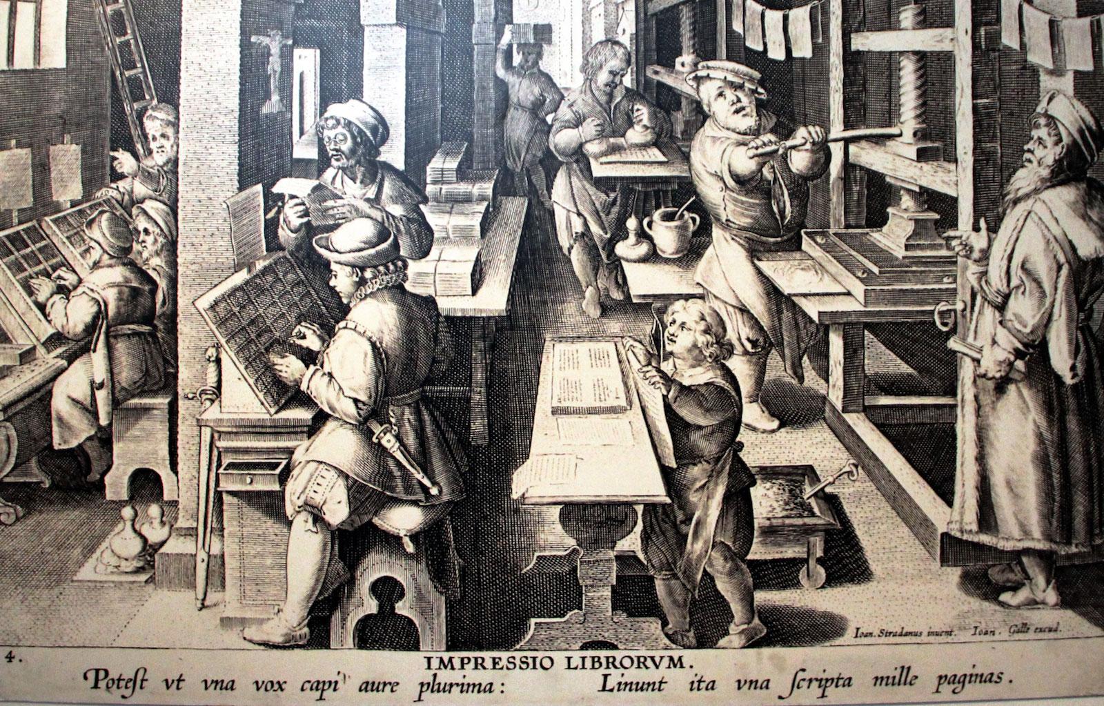 Vieille image d'une imprimerie au XVIe siècle