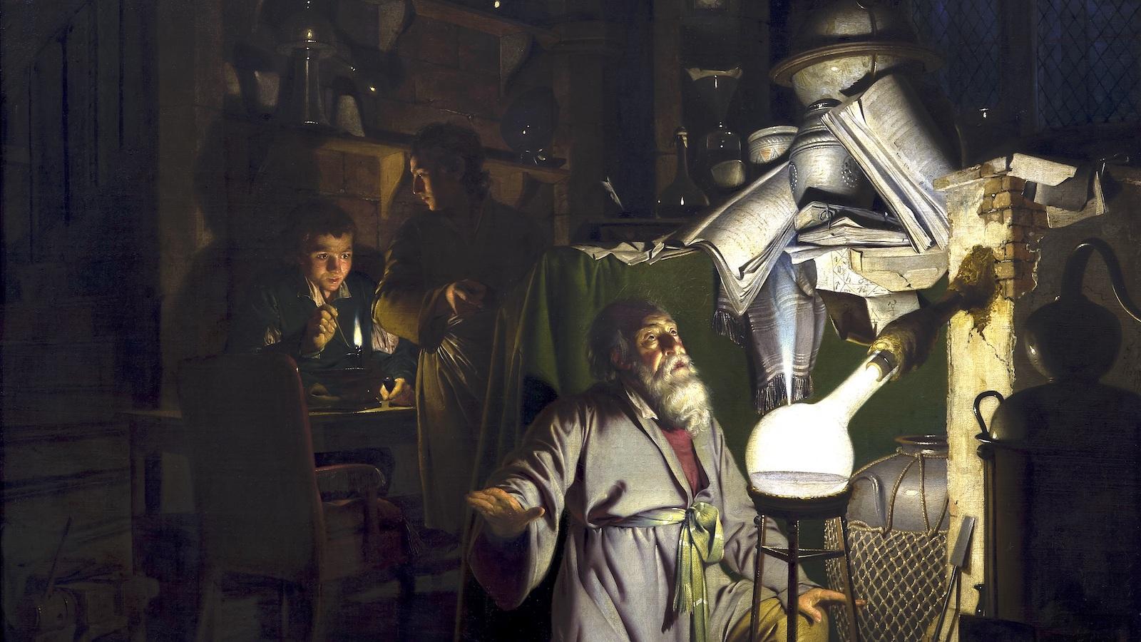 Représentation artistique d'un alchimiste