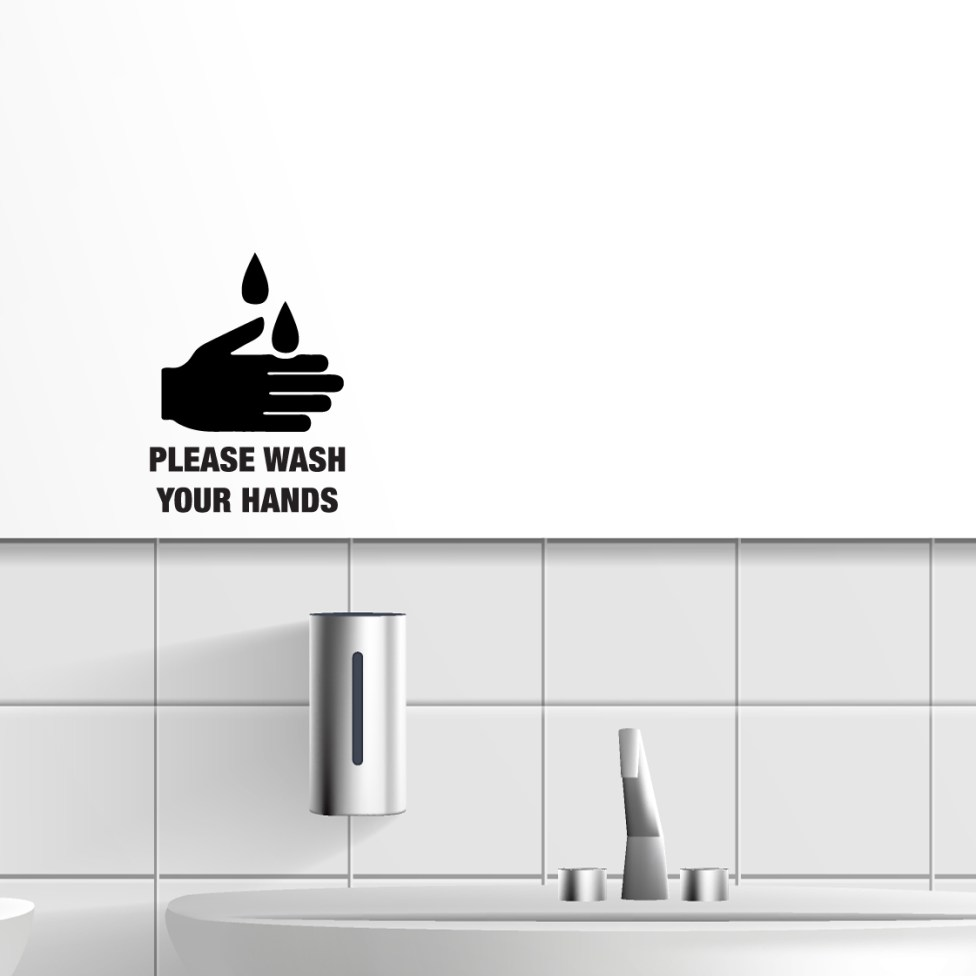 Washed and clean public toilet interior 3d realistic vector. Mop and bucket, row of ceramic sinks with metallic faucets, soap dispensers, hand dryer and long mirror on white tilled wall illustration