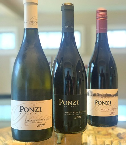 Ponzi Vineyards Tasting lineup