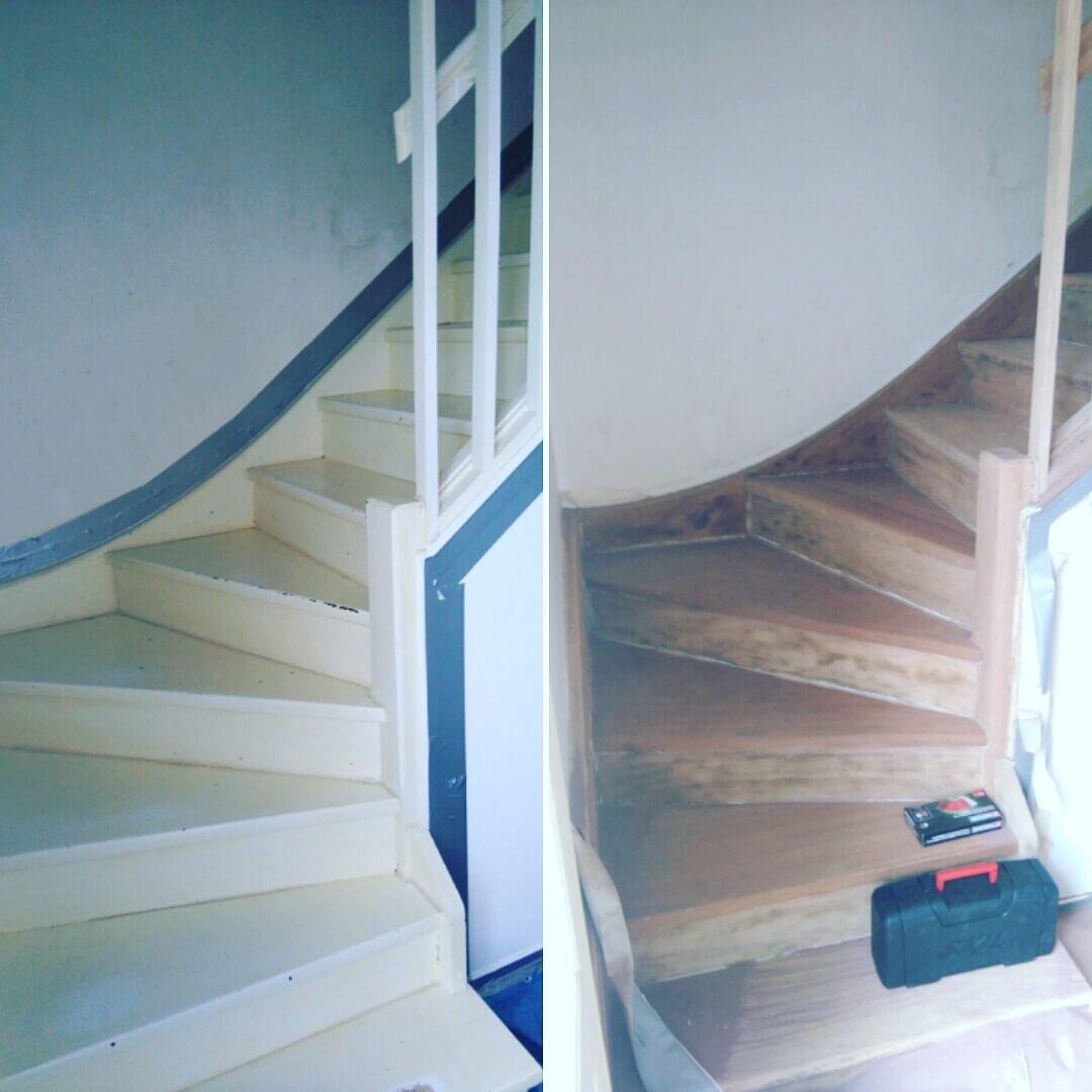 Aérogommage escalier bois peint | DECAP INDUSTRIE