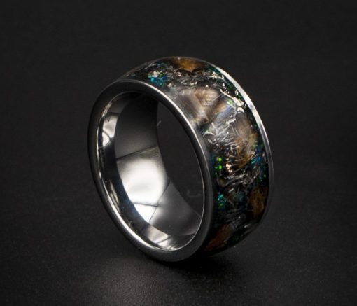 Dinosaur Bone Ring With T-Rex Inlay, Mens Wedding Ring Decazi