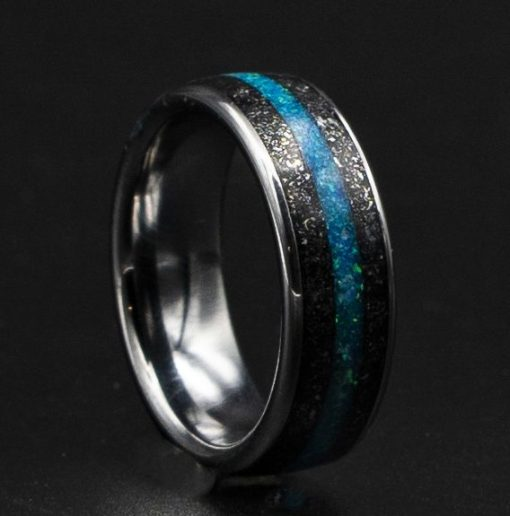 Stardust Meteorite Ring with Royal Opal Blue Inlay | Decazi