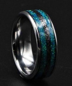 Meteorite Men's Tungsten Ring, Tungsten Carbide Jewelry | Decazi
