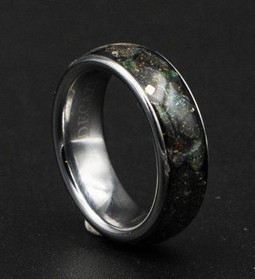 Honduras Black Opal Tungsten Ring, Custom Engraved Rings | Decazi