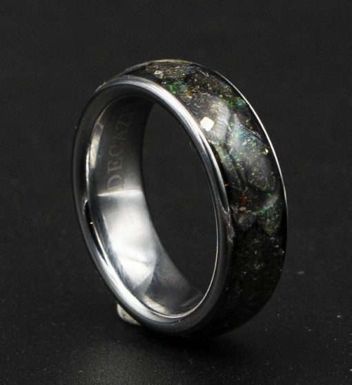 Honduras Black Opal Tungsten Ring, Custom Engraved Rings | Decazi