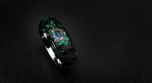 Domed Meteorite opal ring