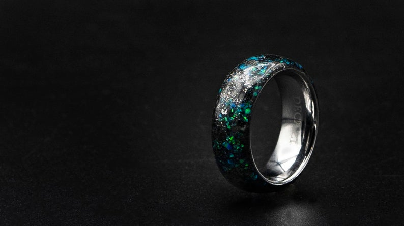 Domed Meteorite opal ring