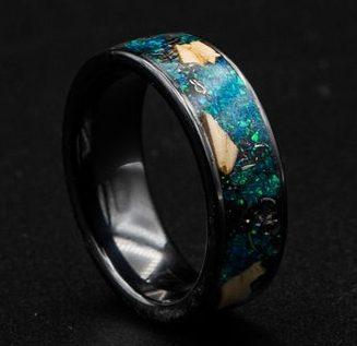 Black ceramic dinosaur bone ring