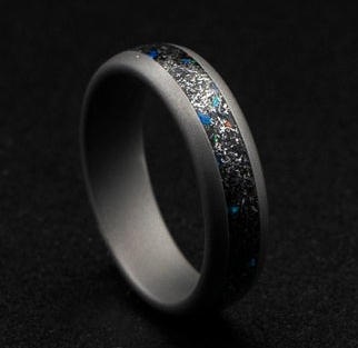 6mm Wide Domed Sandblasted Meteorite Ring, Tungsten Rings | Decazi