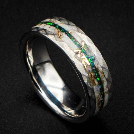 Glow in The Dark Tungsten Ring with Mokume Gane Shavings and Kryponyte Opal Inlay