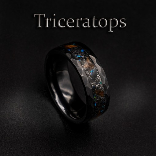 Triceratops Dinosaur Ring in a Black Ceramic Band | Decazi