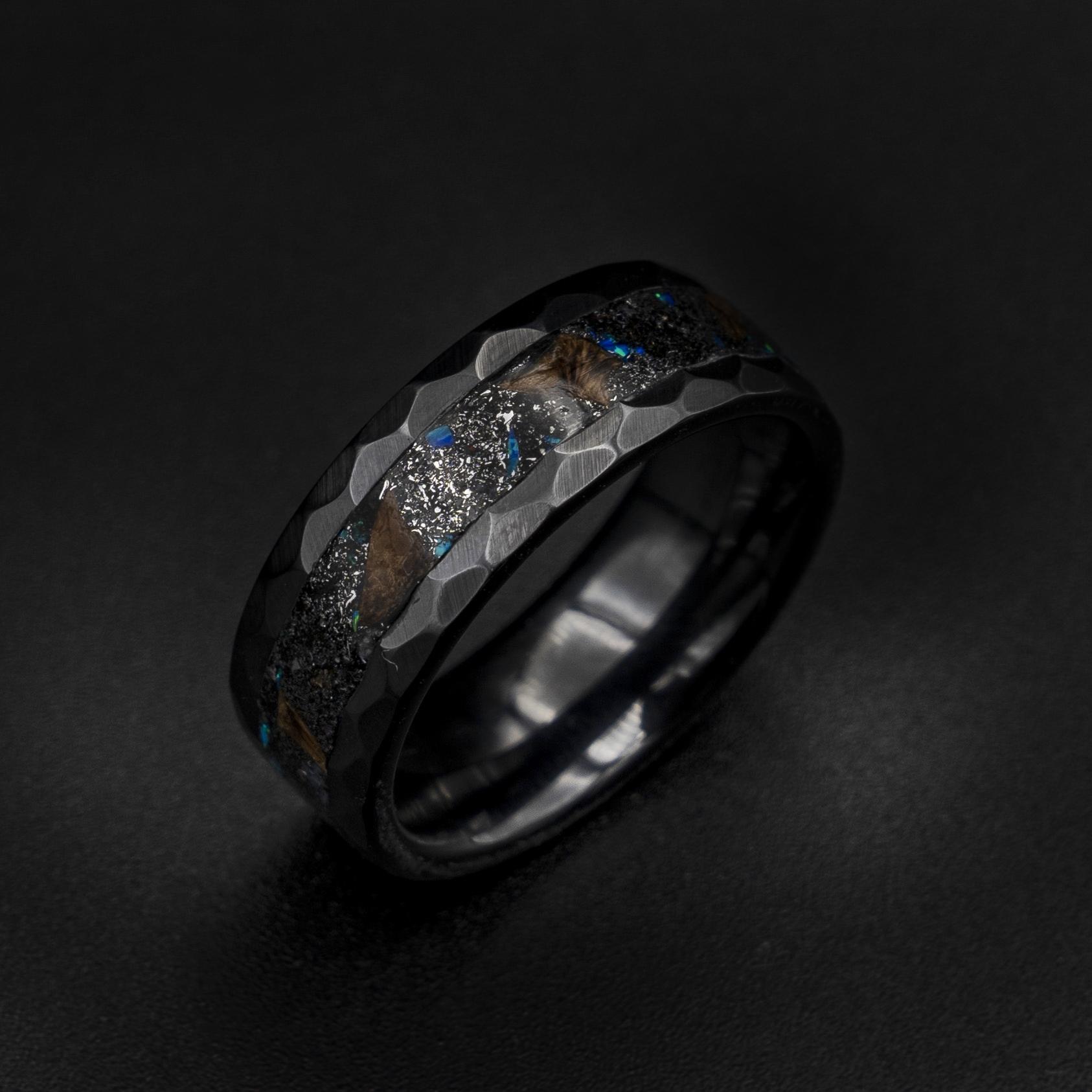 Gift Ring Custom Ring Women Ring Flat Ring Couple Ring Prehistoric Paleo Tungsten Band Stylish Ring Triceratops Ring Engraved Ring