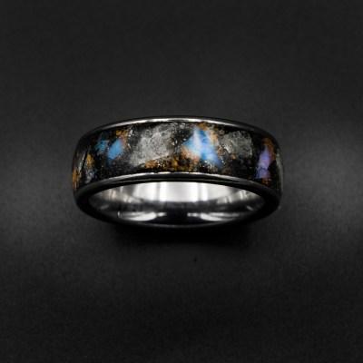 Glow Stone Ring, Genuine Opal, Australian Opal Ring, Meteorite Dust, Men's Ring, Galaxy Opal