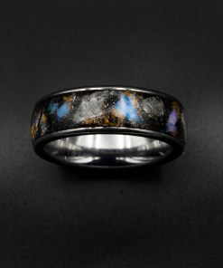 Glow Stone Ring, Genuine Opal, Australian Opal Ring, Meteorite Dust, Men's Ring, Galaxy Opal