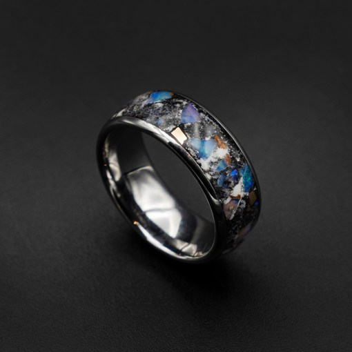 Custom Meteorite Ring, Glow in The Dark Ring, Men's Tungsten Ring | Decazi