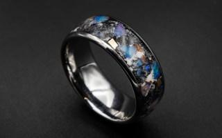 Custom Meteorite Ring, Glow in The Dark Ring, Men's Tungsten Ring | Decazi