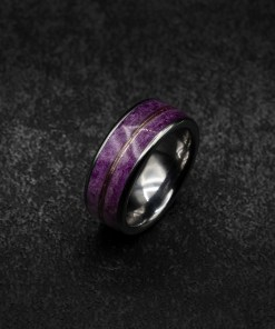 Tungsten Ring with White Gold and Lilac Color Changing Pigment | Decazi
